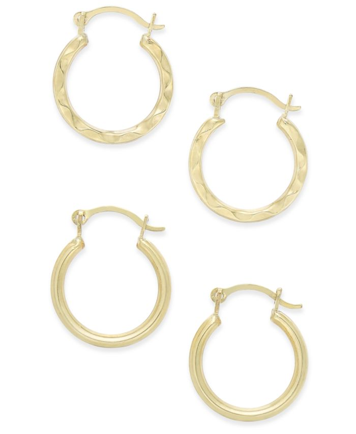 Macy's Duo Set of Small Round Hoop Earrings in 10k Gold & Reviews - Earrings - Jewelry & Watches - Macy's