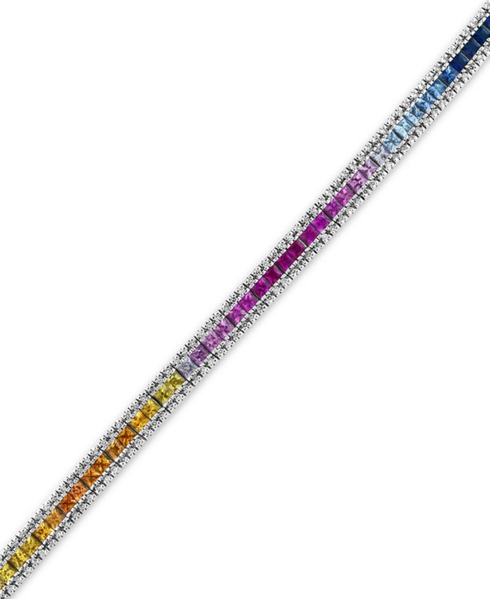 EFFY Collection Watercolors by EFFY® Multi-Sapphire (8-1/4 ct. t.w.) and Diamond (9/10 ct. t.w.) Tennis Bracelet in 14k White Gold, Created for Macy's & Reviews - Bracelets - Jewelry & Watches - Macy's