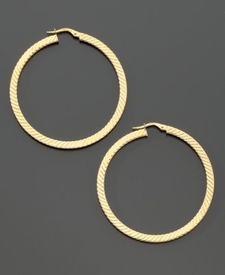 14k Gold Flat-Ribbed Hoop Earrings