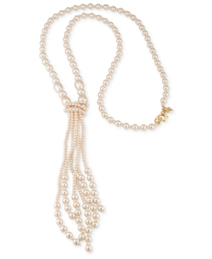 Carolee Gold-Tone Imitation Pearl Tassel Necklace