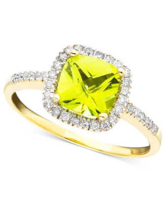 14k Gold Peridot (1-1/3 ct. t.w.) & Diamond (1/5 ct. t.w.) Ring