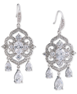 Carolee Silver-Tone Blue and Clear Crystal Chandelier Earrings