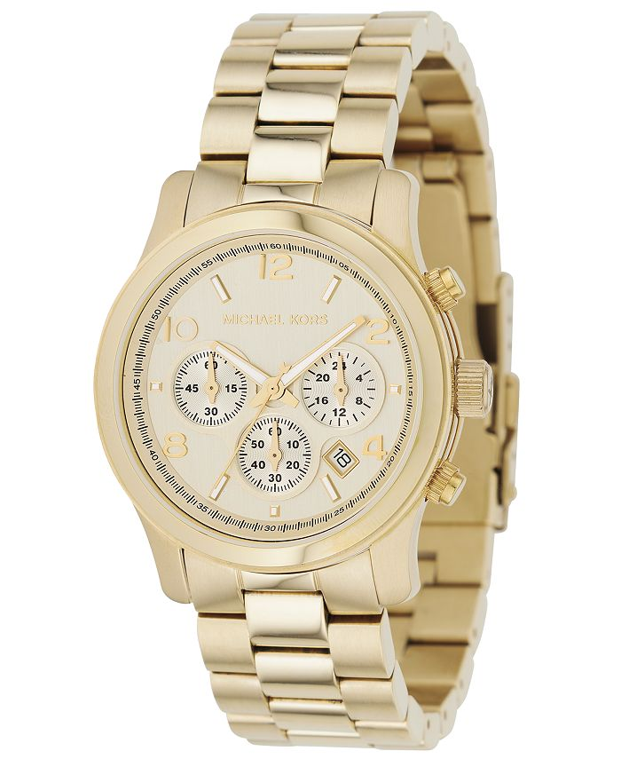 Michael Kors - Women's Chronograph Runway Gold-Tone Stainless Steel Bracelet Watch 38mm MK5055