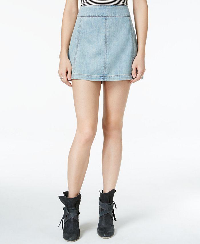 Free People - Zip To It Denim Mini Skirt