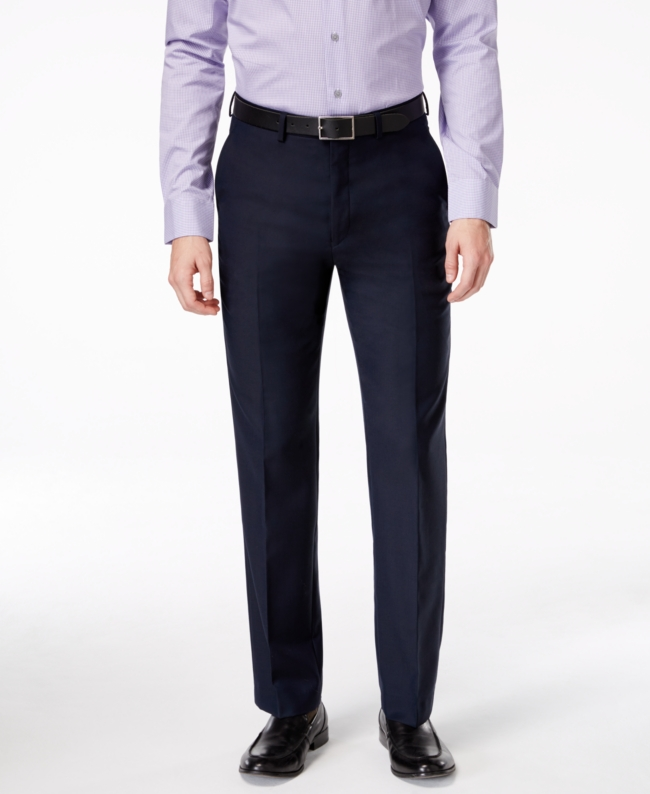 Ryan Seacrest Distinction Navy Solid Slim Fit Pants | Clothing