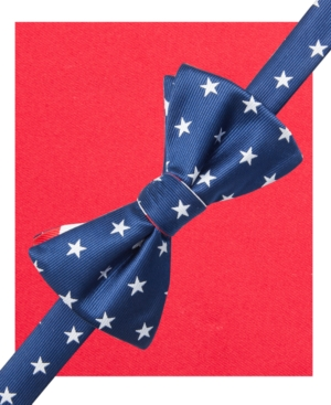 Countess Mara Men's Americana Stars and Stripes Pre-Tied Bow Tie and Pocket Square Set