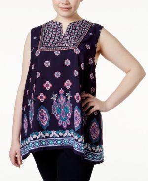 Monteau Trendy Plus Size Sleeveless Printed Peasant Top