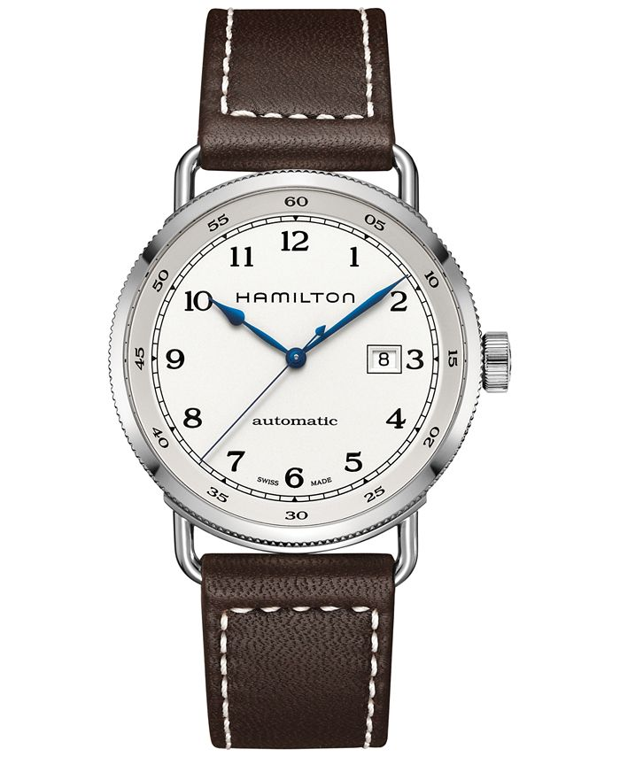 Hamilton - Men's Swiss Automatic Khaki Navy Pioneer Brown Leather Strap Watch 43mm H77715553