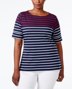 Karen Scott Plus Size Striped Boat-Neck Top, Only at Macy's