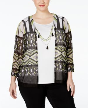 Alfred Dunner Plus Size Sao Paolo Collection Layered-Look Necklace Blouse