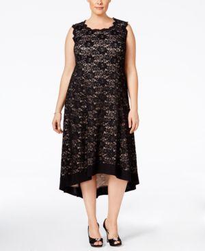 R & M Richards Plus Size Open-Back Lace Dress