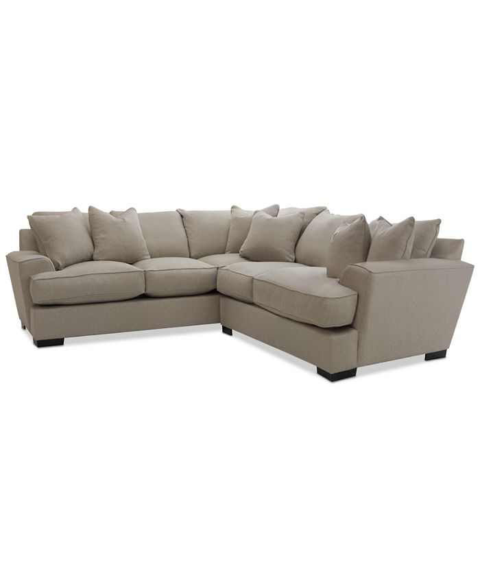 """Furniture - Ainsley 2-Pc. Apartment Sofa with 6 Toss Pillows 101"""" W x 110"""" D x 40"""" H"""