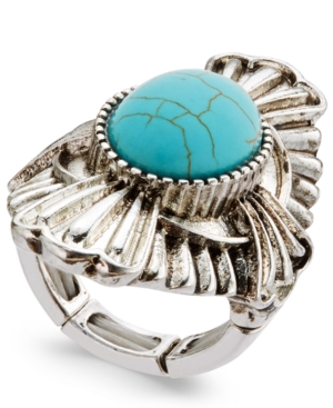 Silver-Tone Turquoise-Look Statement Stretch Ring