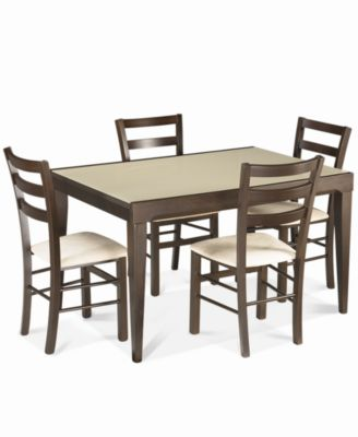 Caf Latte Dining Room Furniture 5 Piece Counter Height Set Glass Top Table