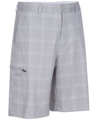 Image of Greg Norman for Tasso Elba Men's Tech Plaid Golf Shorts