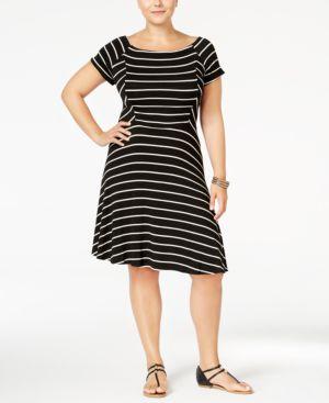 Monteau Trendy Plus Size Striped Fit & Flare Dress