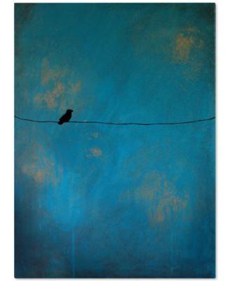 "'Lone Bird Blue' by Nicole Dietz 32"" x 24"" Canvas Print"