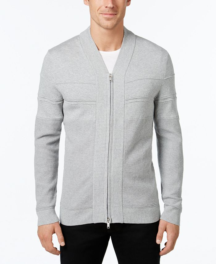 Alfani - Men's Texture Ottoman Full-Zip Sweater