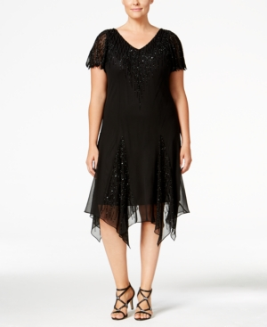 J Kara Plus Size Beaded Handkerchief-Hem Dress $239.00 AT vintagedancer.com