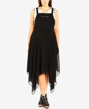 City Chic Plus Size Pinafore Midi Dress