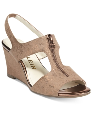 Anne Klein Edan Zip-Up Wedge Sandals