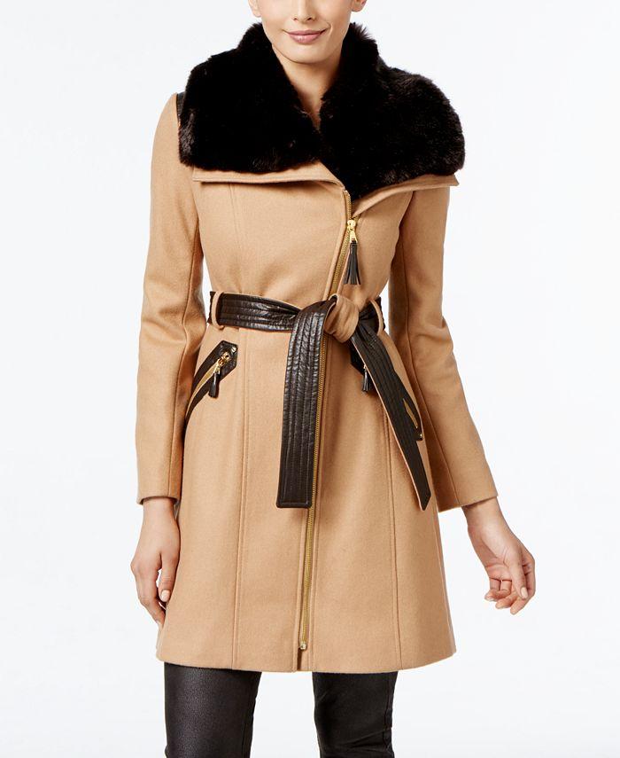 Via Spiga - Faux-Fur-Collar Asymmetrical Coat