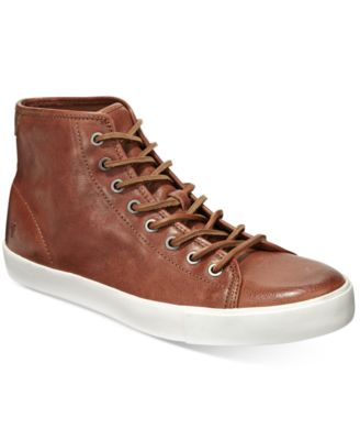 frye leather high top sneakers