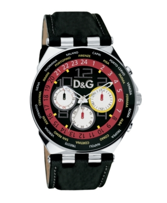 D&G Watch, Men's Unique Black Leather Strap 3719770194