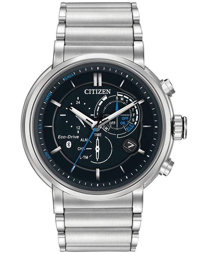 Citizen - Men's Chronograph Proximity Stainless Steel Bracelet Smartwatch 46mm BZ1000-54E