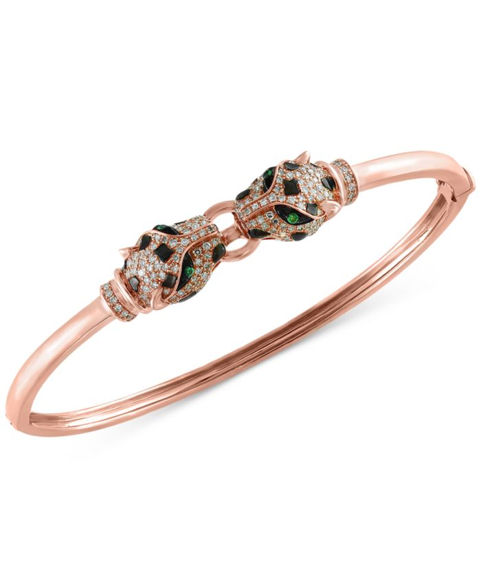 EFFY Collection EFFY® Diamond (3/4 ct. t.w.) and Tsavorite Accent Bangle Bracelet in 14k Rose Gold & Reviews - Bracelets - Jewelry & Watches - Macy's