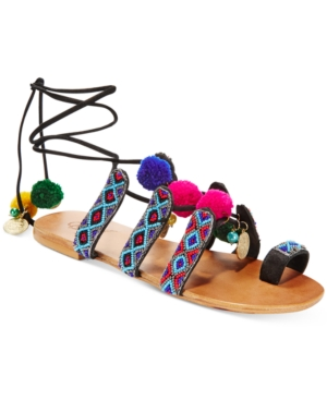 Carlos by Carlos Santana Isabella Pom Pom Lace-Up Sandals Women's Shoes