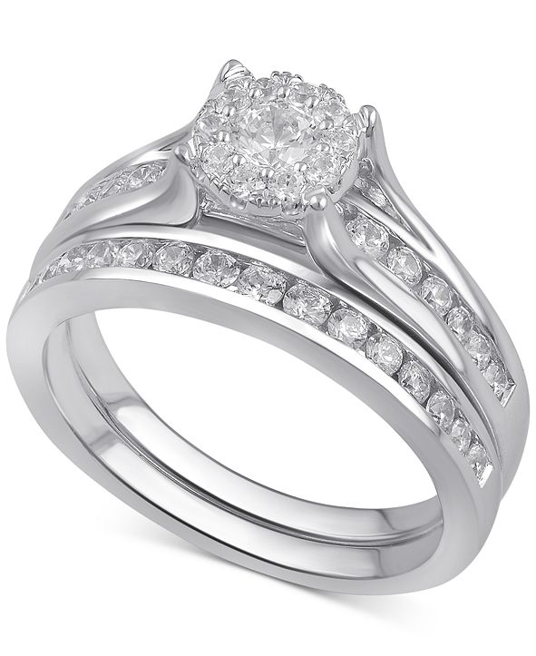 Macy's Diamond Bridal Channel Set (1 ct. t.w.) in 14k White, Yellow or Rose Gold