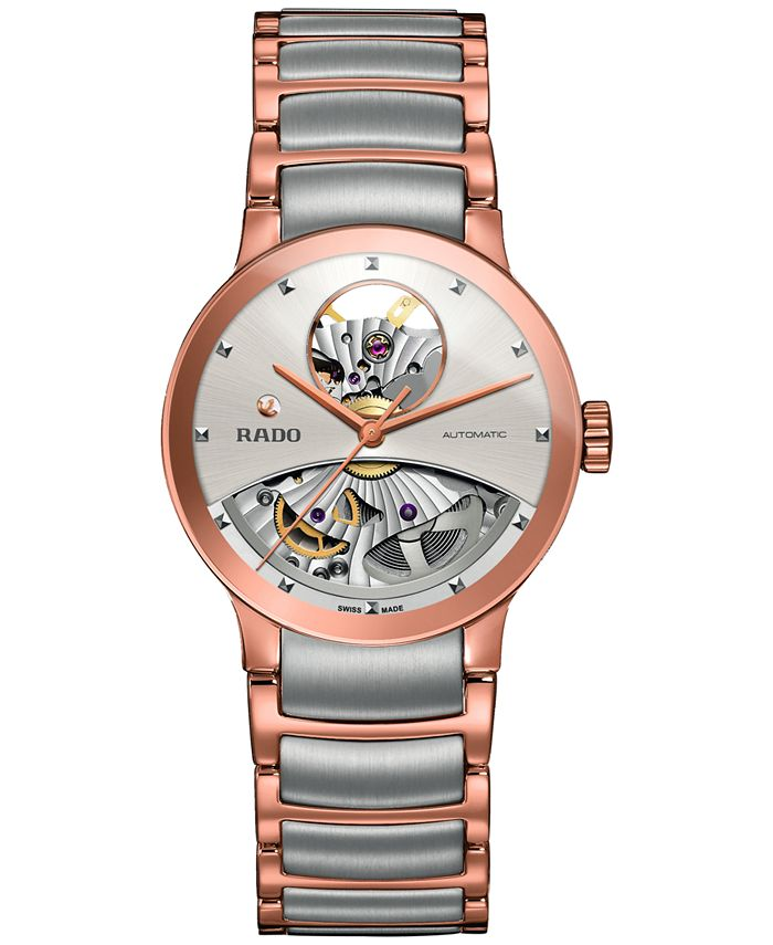 Rado - Women's Swiss Automatic Centrix Open Heart Two-Tone PVD Stainless Steel Bracelet Watch 33mm R30248012