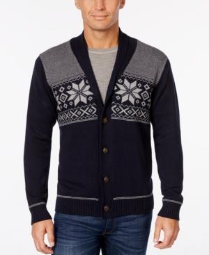 Men's Vintage Style Sweaters – 1920s to 1960s Weatherproof Mens Snowflake Cardigan Only at Macys $49.99 AT vintagedancer.com