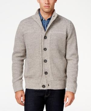 Men's Vintage Style Sweaters – 1920s to 1960s Weatherproof Vintage Mens Waffle-Knit Cardigan $59.99 AT vintagedancer.com