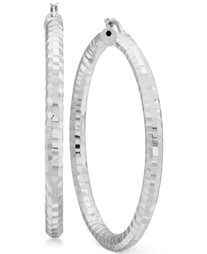 Macy's Textured Hoop Earrings in Sterling Silver