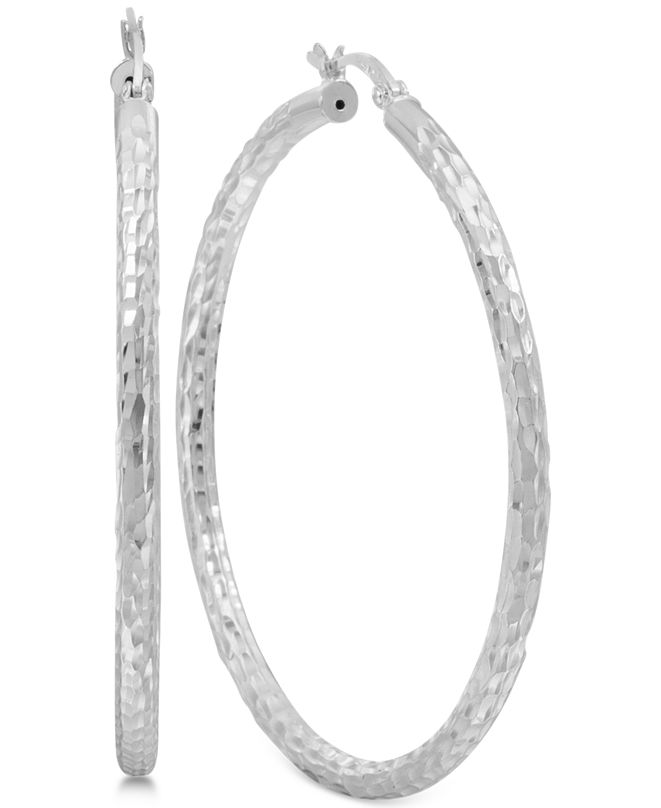 Macy's Thin Textured Hoop Earrings in Sterling Silver