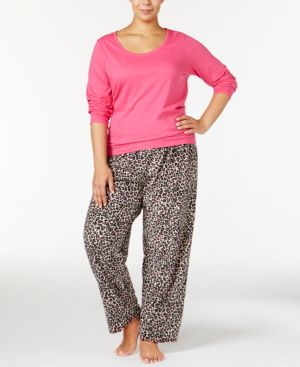 Jenni by Jennifer Moore Plus Size Knit Top and Printed Fleece Pants...