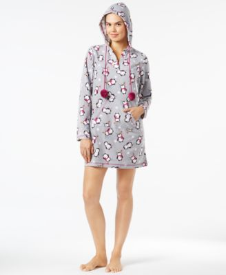 Image of Jenni by Jennifer Moore Hooded Printed Microfleece Tunic, Only at Macy's