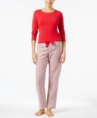 Image of Calvin Klein Knit Top and Flannel Pajama Pants Set