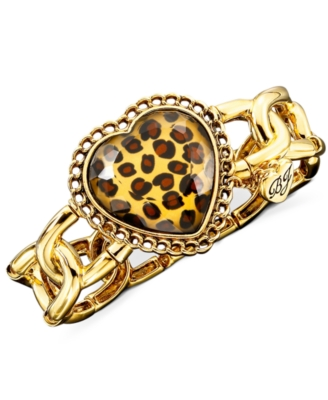 Betsey Johnson Leopard-Heart Bracelet