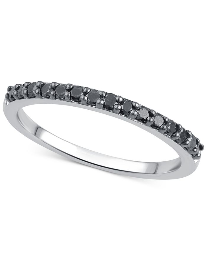 Macy's - Black or Brown Diamond Band (1/4 ct. t.w.) in 14k White, Rose or Yellow Gold
