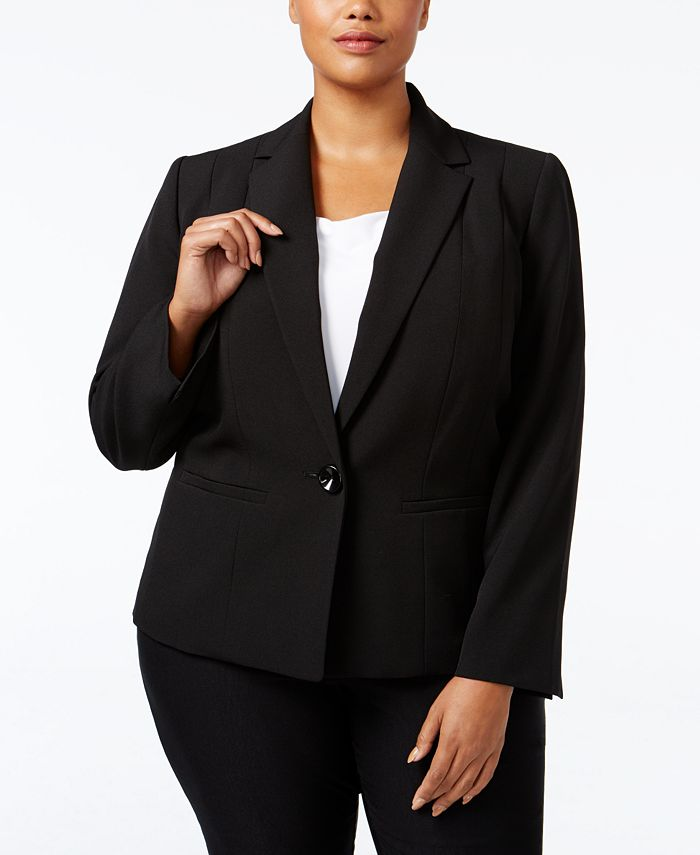 Kasper - Plus Size Crepe One-Button Jacket