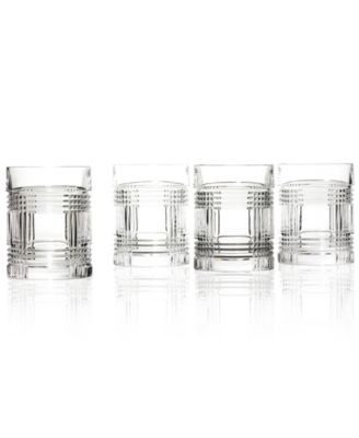 Lauren Ralph Lauren Set of 4 Glen Plaid Double Old Fashioned Glasses
