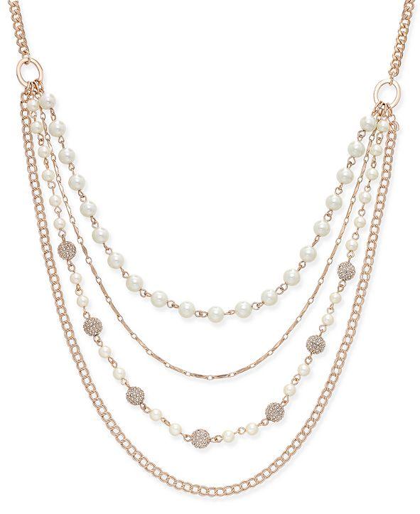 Charter Club Rose Gold-Tone Imitation Pearl and Crystal Fireball Multi-Layer Necklace, Created for Macy's