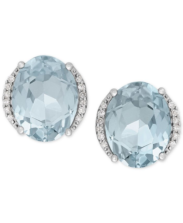 Macy's - Aquamarine (3 ct. t.w.) and Diamond Accent Stud Earrings in 14k White Gold