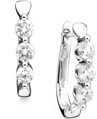 14k White Gold Diamond Three-Stone Hoop Earrings (1 ct. t.w.)