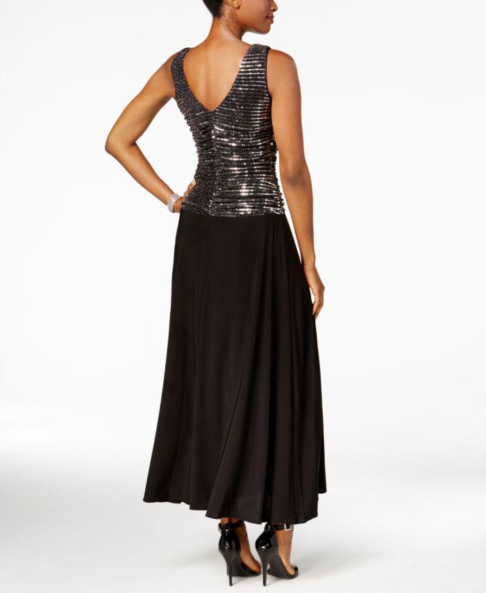 R & M Richards Metallic Sequined A-Line Dress & Reviews - Dresses - Women - Macy's