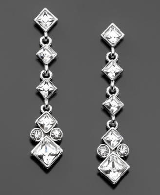 Givenchy Silvertone Crystal Linear Drop Earrings