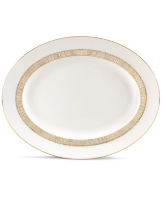 Vera Wang Wedgwood Gilded Weave Gold Oval Platter